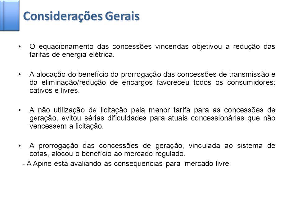 Considerações GeraisO equacionamento das concessões vincendas objetivou a redução das tarifas de energia elétrica.
