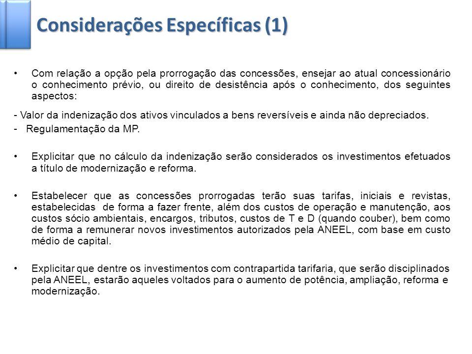 Considerações Específicas (1)