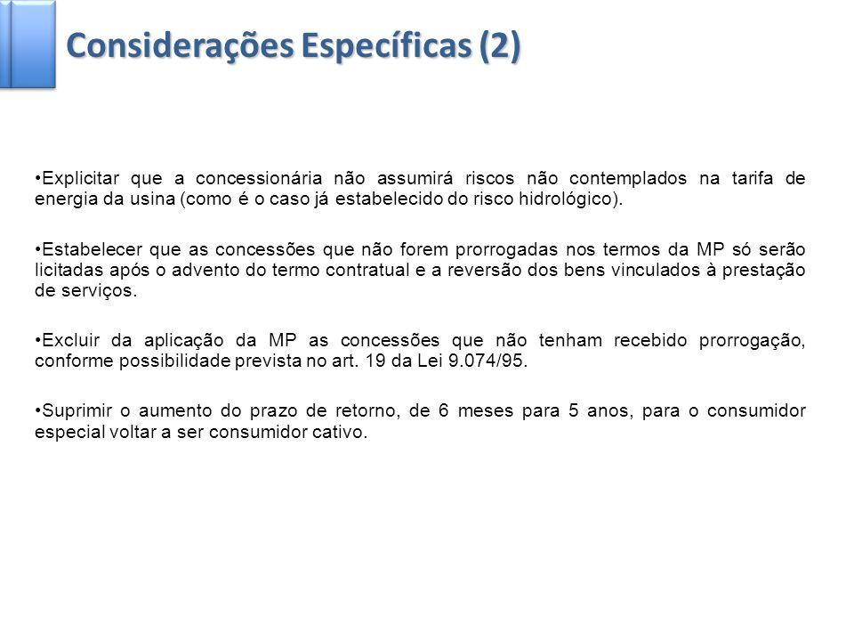 Considerações Específicas (2)