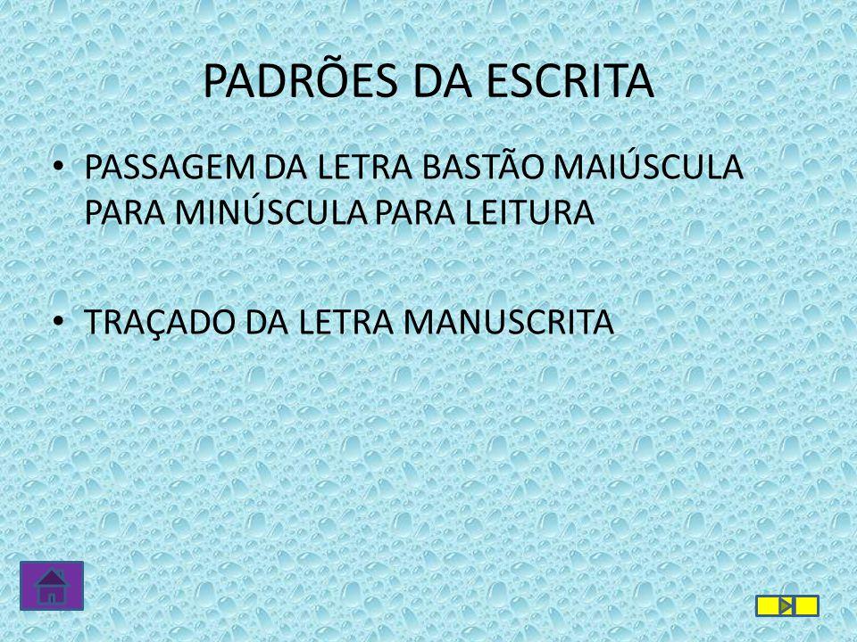 PADRÕES DA ESCRITA PASSAGEM DA LETRA BASTÃO MAIÚSCULA PARA MINÚSCULA PARA LEITURA.