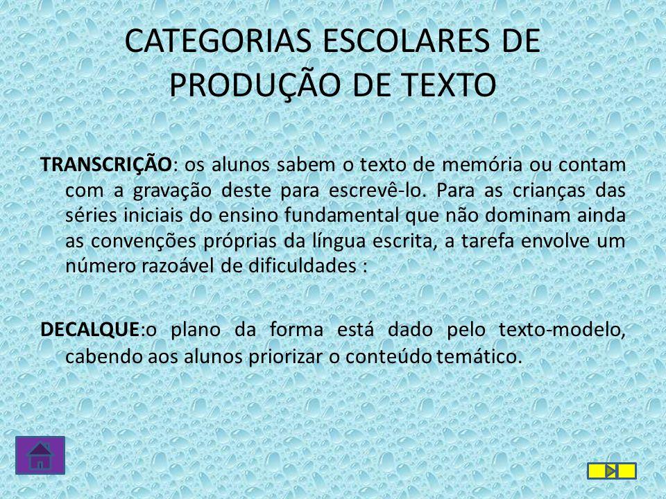 CATEGORIAS ESCOLARES DE PRODUÇÃO DE TEXTO