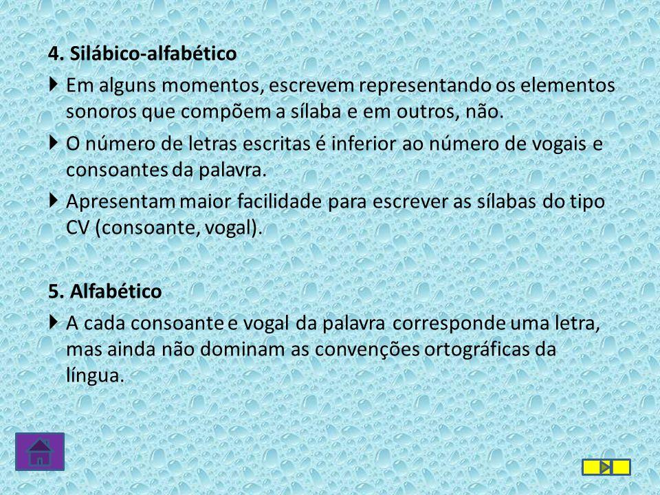 4. Silábico-alfabético Em alguns momentos, escrevem representando os elementos sonoros que compõem a sílaba e em outros, não.