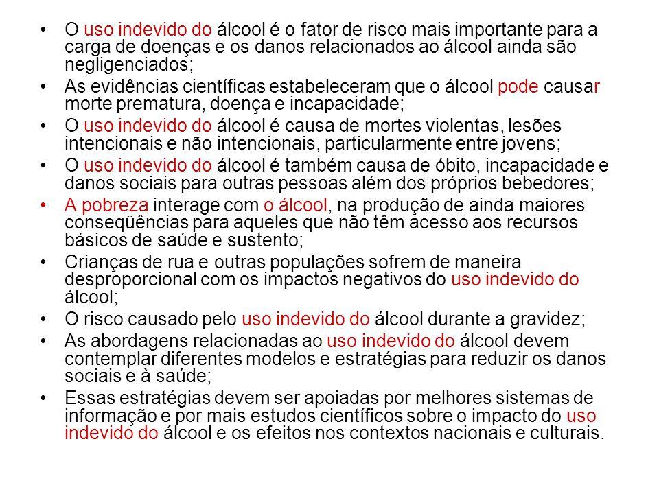 O uso indevido do álcool é o fator de risco mais importante para a carga de doenças e os danos relacionados ao álcool ainda são negligenciados;
