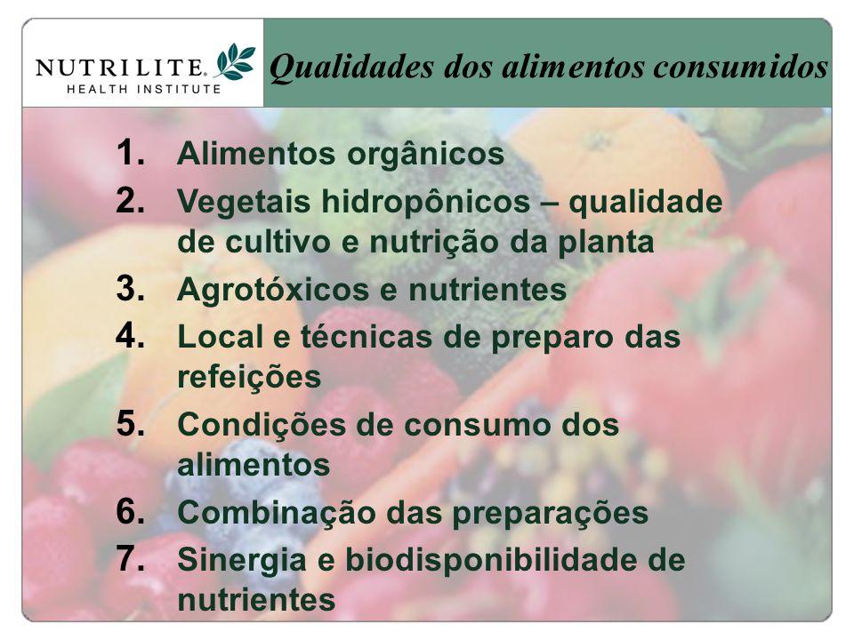 Qualidades dos alimentos consumidos
