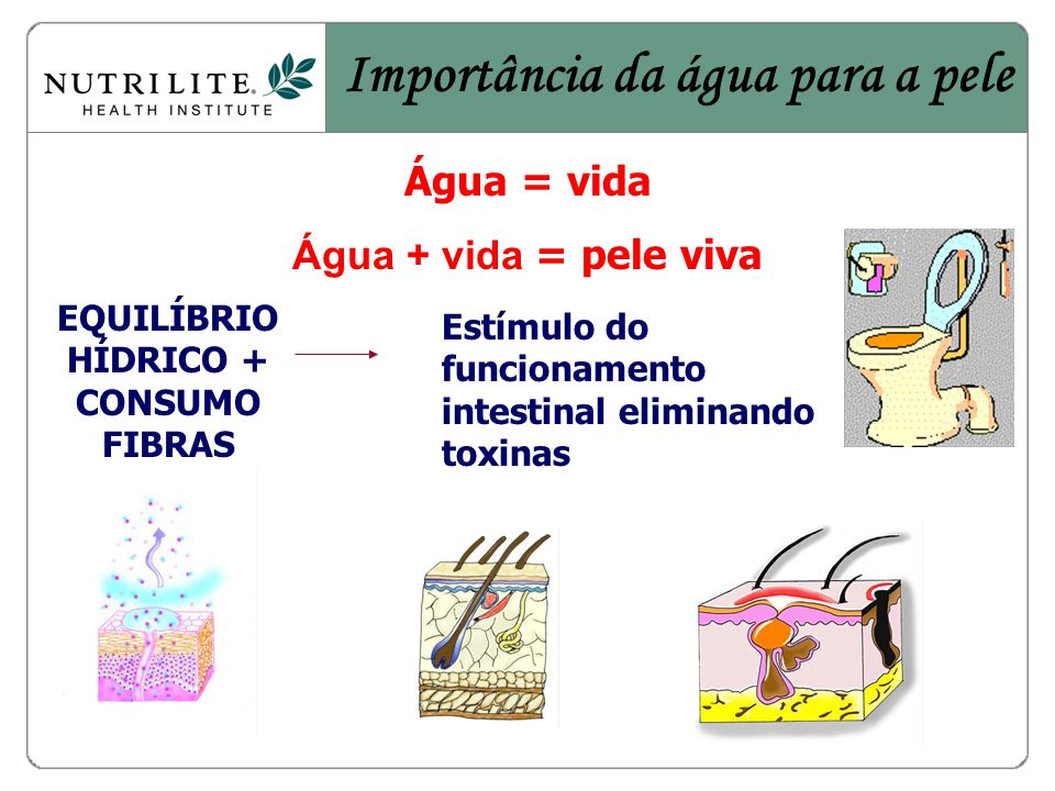 Importância da água para a pele EQUILÍBRIO HÍDRICO + CONSUMO FIBRAS