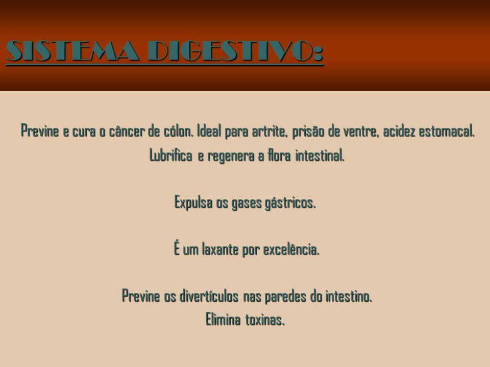 SISTEMA DIGESTIVO: Previne e cura o câncer de cólon. Ideal para artrite, prisão de ventre, acidez estomacal.