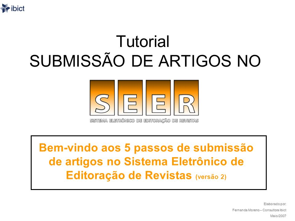 Tutorial SUBMISSÃO DE ARTIGOS NO