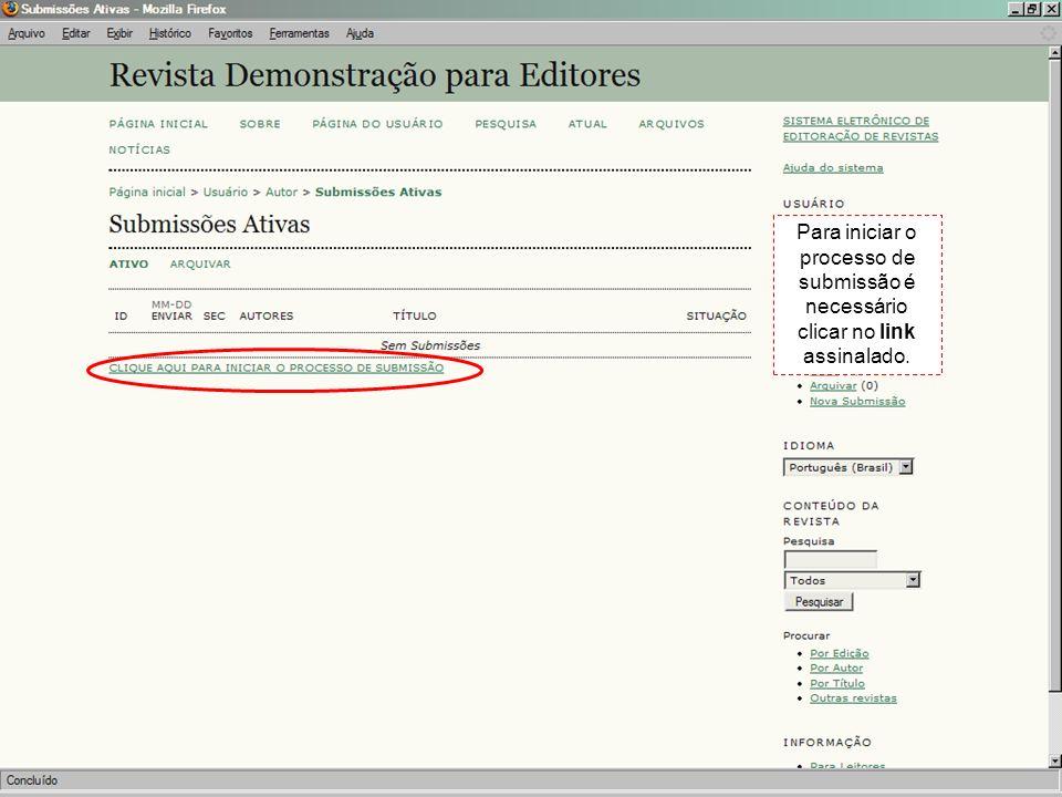 Para iniciar o processo de submissão é necessário clicar no link assinalado.