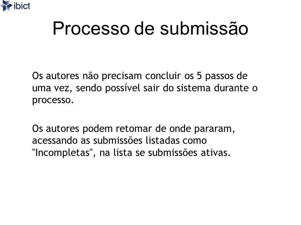 Processo de submissão Os autores não precisam concluir os 5 passos de uma vez, sendo possível sair do sistema durante o processo.