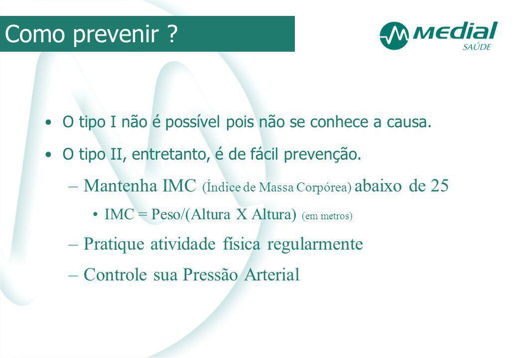 Como prevenir Mantenha IMC (Índice de Massa Corpórea) abaixo de 25