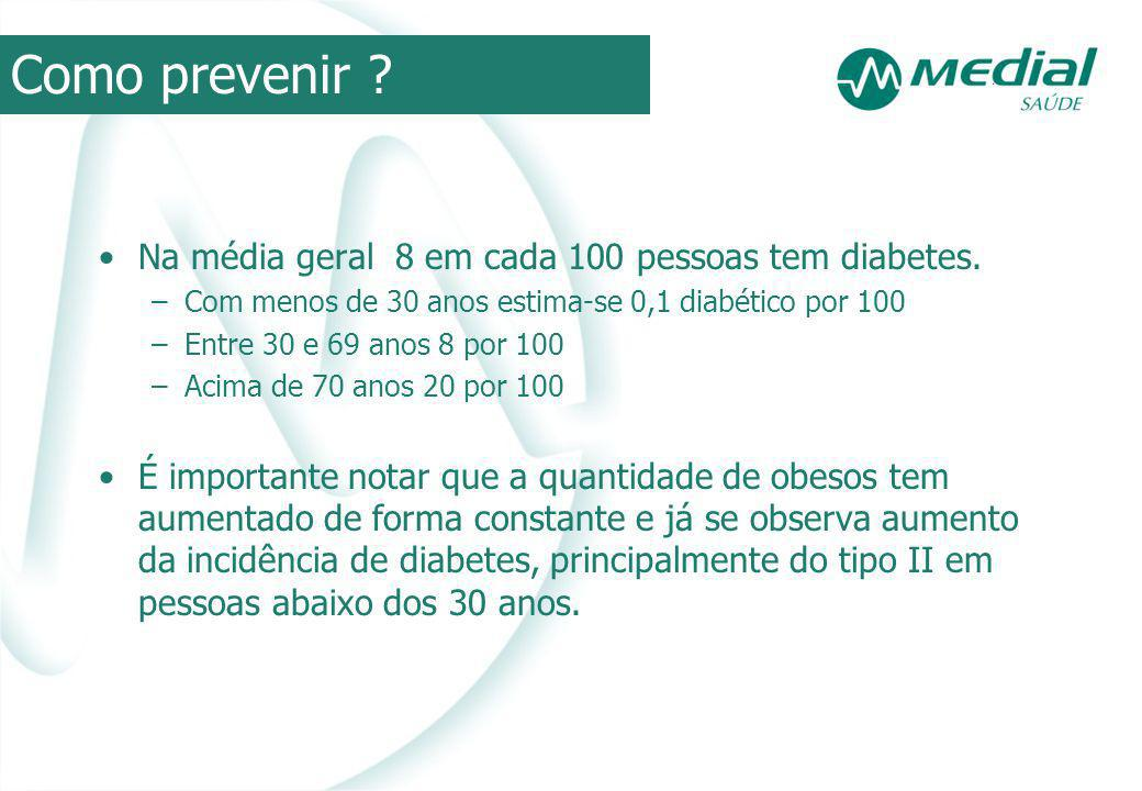 Como prevenir Na média geral 8 em cada 100 pessoas tem diabetes.