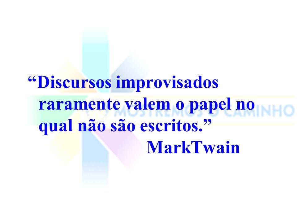 Discursos improvisados raramente valem o papel no qual não são escritos. MarkTwain