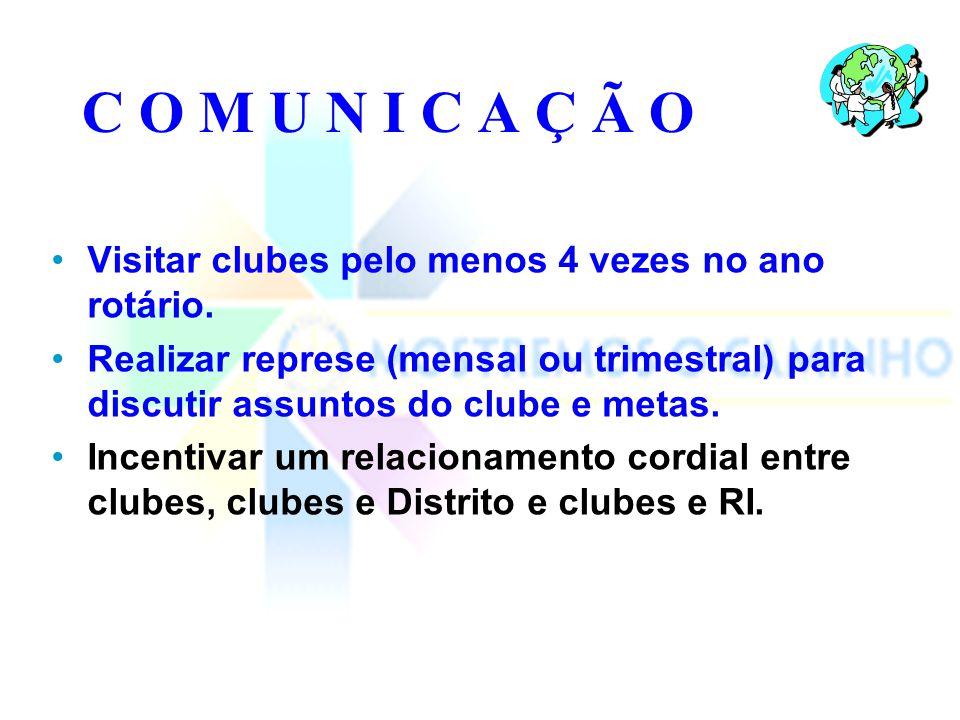 C O M U N I C A Ç Ã O Visitar clubes pelo menos 4 vezes no ano rotário.