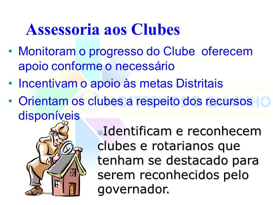 Assessoria aos Clubes Monitoram o progresso do Clube oferecem apoio conforme o necessário. Incentivam o apoio às metas Distritais.