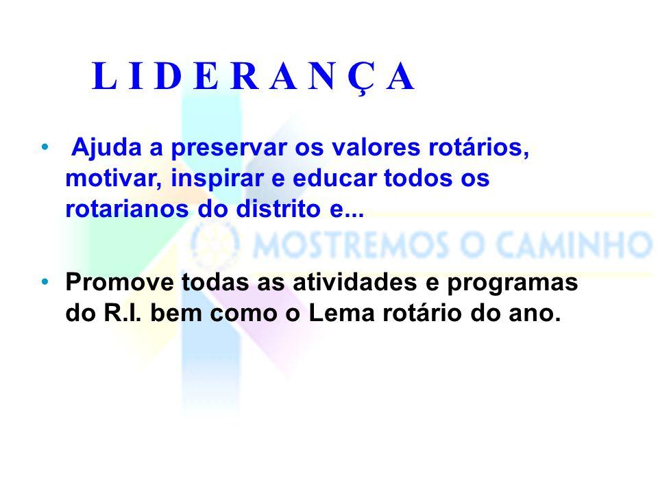 L I D E R A N Ç A Ajuda a preservar os valores rotários, motivar, inspirar e educar todos os rotarianos do distrito e...