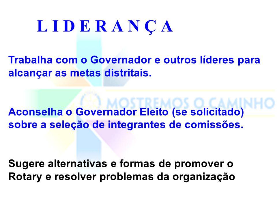 L I D E R A N Ç A Trabalha com o Governador e outros líderes para alcançar as metas distritais.