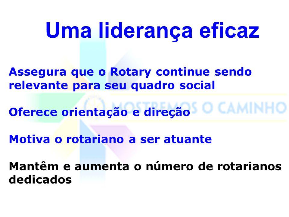 Uma liderança eficaz Assegura que o Rotary continue sendo relevante para seu quadro social. Oferece orientação e direção.