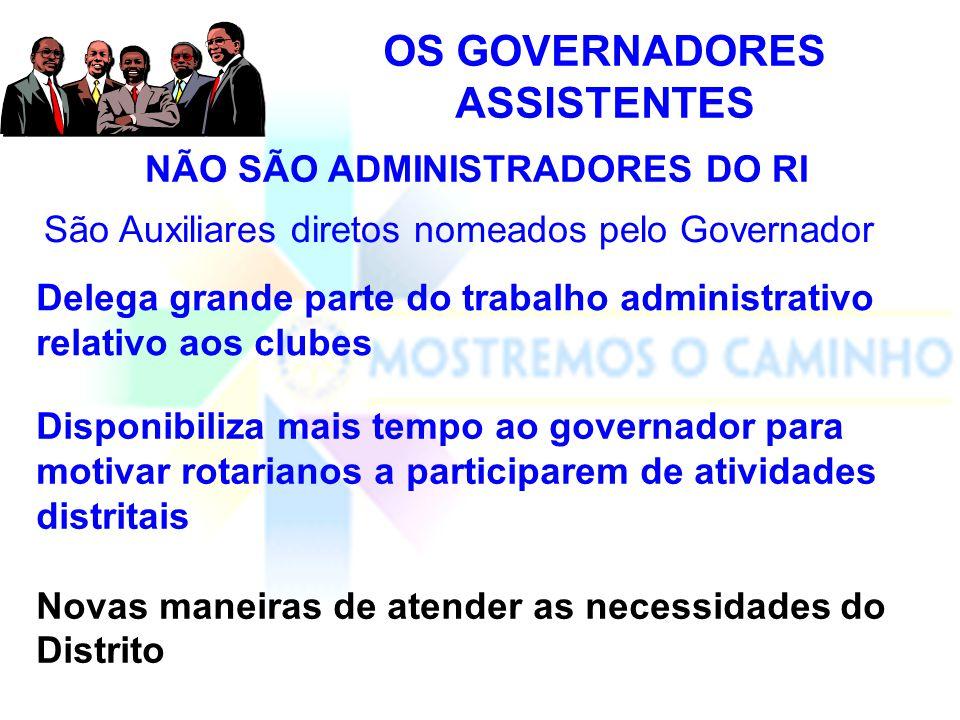OS GOVERNADORES ASSISTENTES NÃO SÃO ADMINISTRADORES DO RI