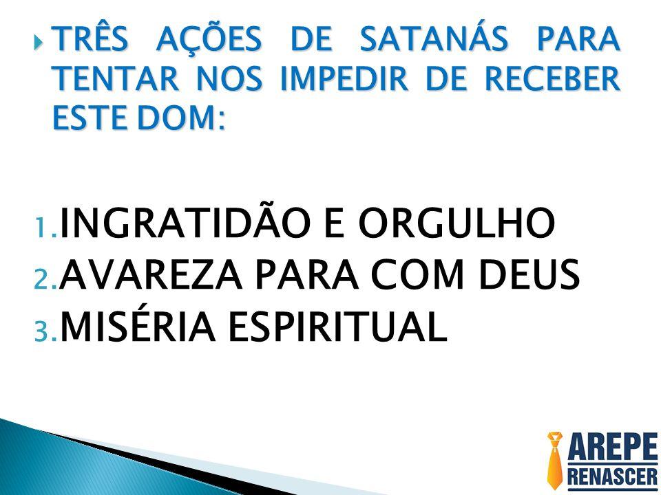 INGRATIDÃO E ORGULHO AVAREZA PARA COM DEUS MISÉRIA ESPIRITUAL