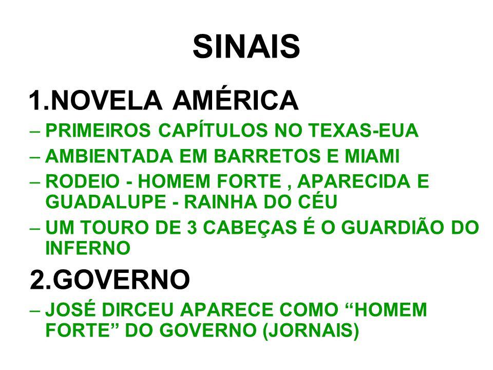 SINAIS 1.NOVELA AMÉRICA 2.GOVERNO PRIMEIROS CAPÍTULOS NO TEXAS-EUA