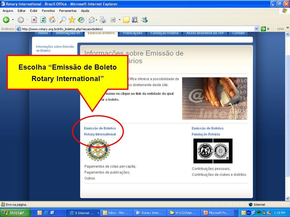 Escolha Emissão de Boleto Rotary International