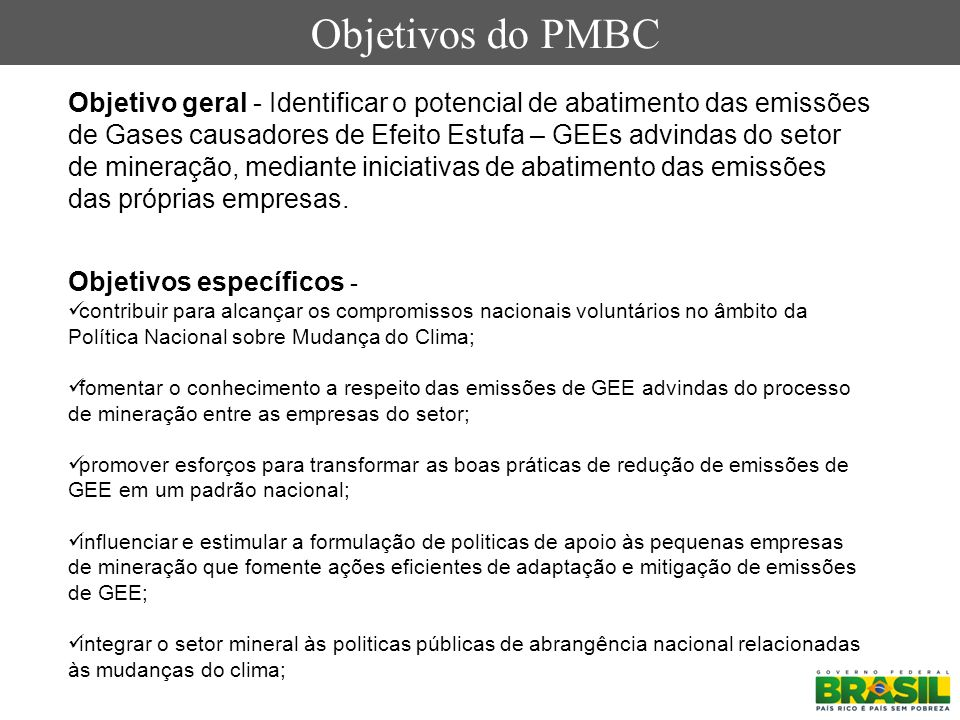 Objetivos do PMBC