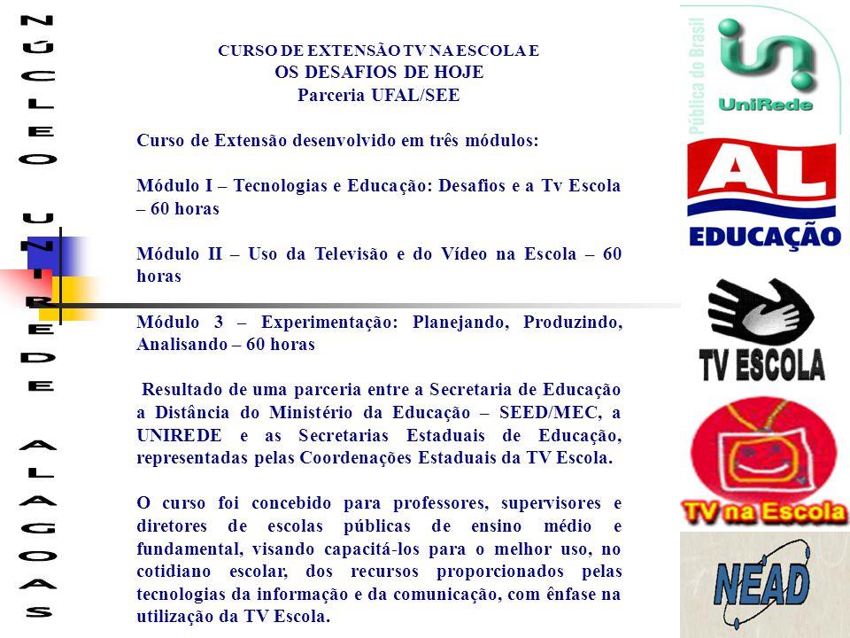 CURSO DE EXTENSÃO TV NA ESCOLA E NÚCLEO UNIREDE ALAGOAS