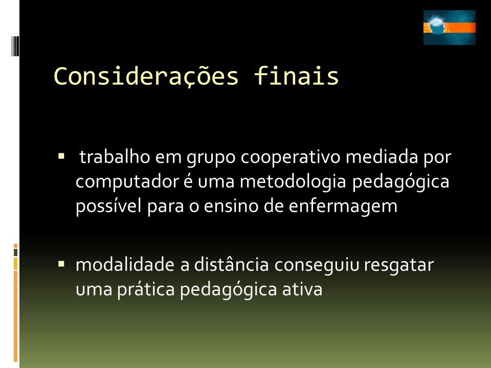 Considerações finais trabalho em grupo cooperativo mediada por computador é uma metodologia pedagógica possível para o ensino de enfermagem.