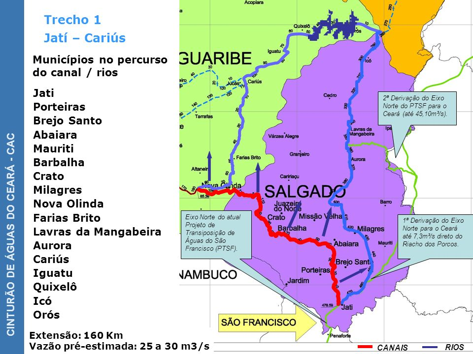 Trecho 1 Jatí – Cariús Municípios no percurso do canal / rios Jati