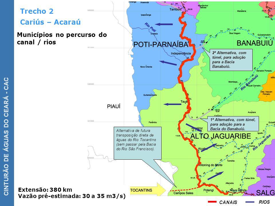 Trecho 2 Cariús – Acaraú Municípios no percurso do canal / rios