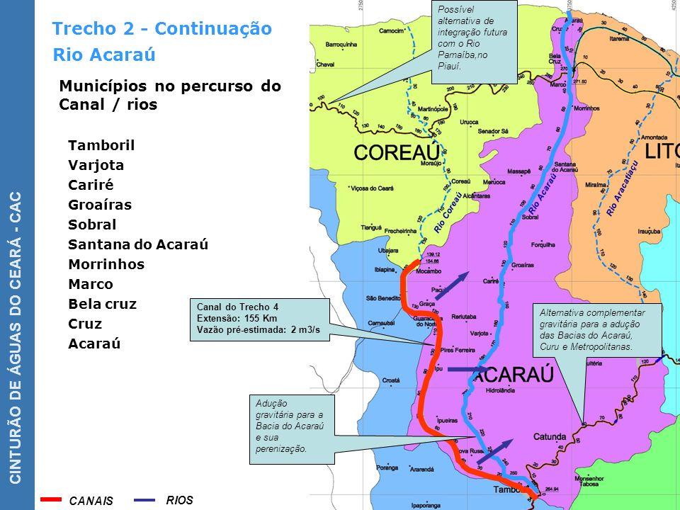 Trecho 2 - Continuação Rio Acaraú Municípios no percurso do