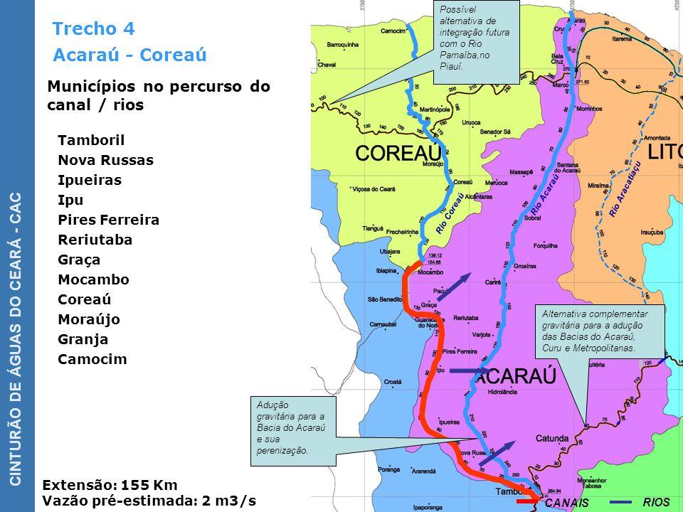 Trecho 4 Acaraú - Coreaú Municípios no percurso do canal / rios