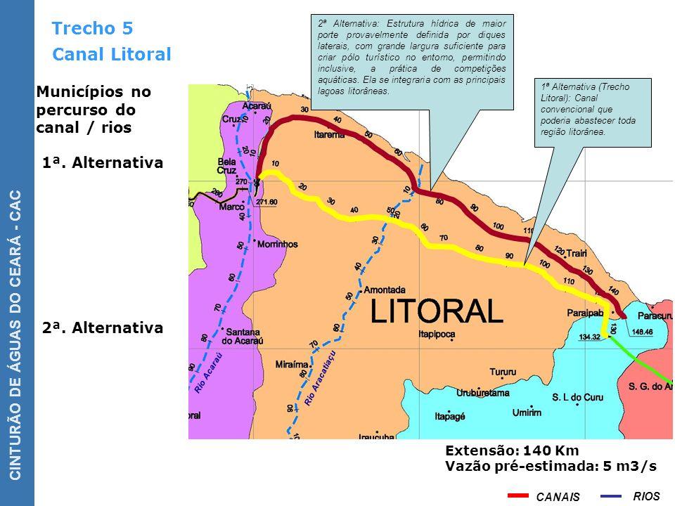 Trecho 5 Canal Litoral Municípios no percurso do canal / rios