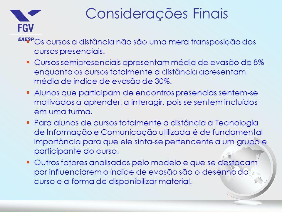 Considerações Finais Os cursos a distância não são uma mera transposição dos cursos presenciais.