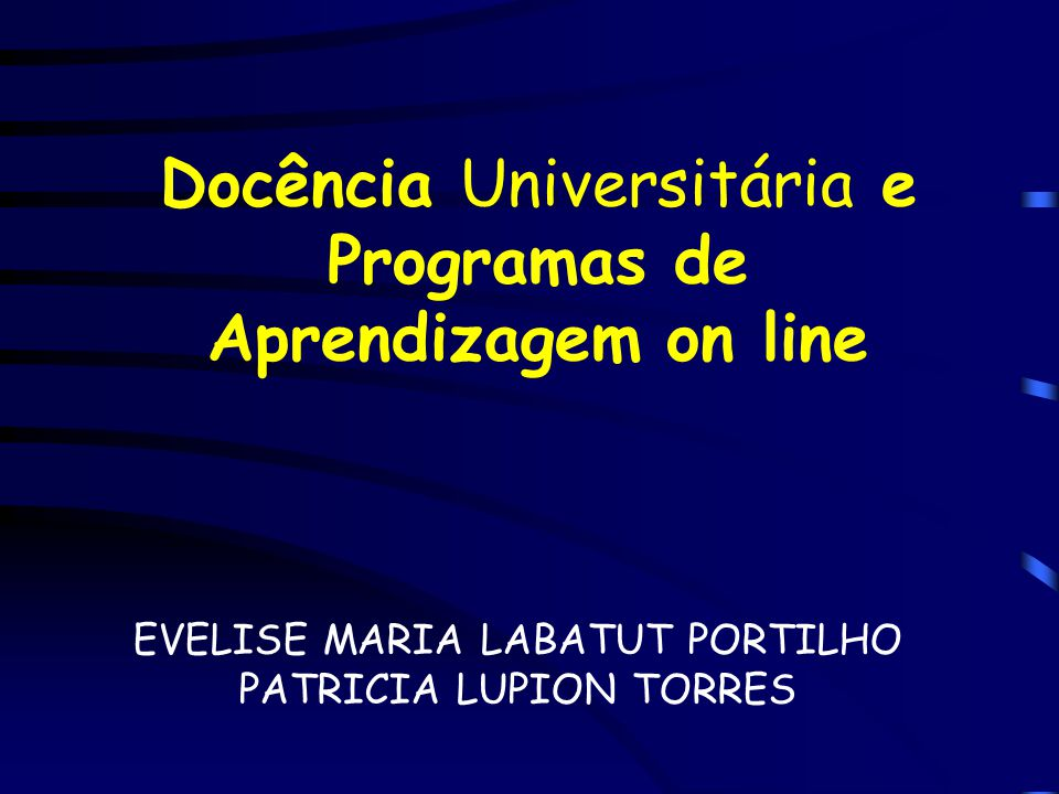 Docência Universitária e Programas de Aprendizagem on line