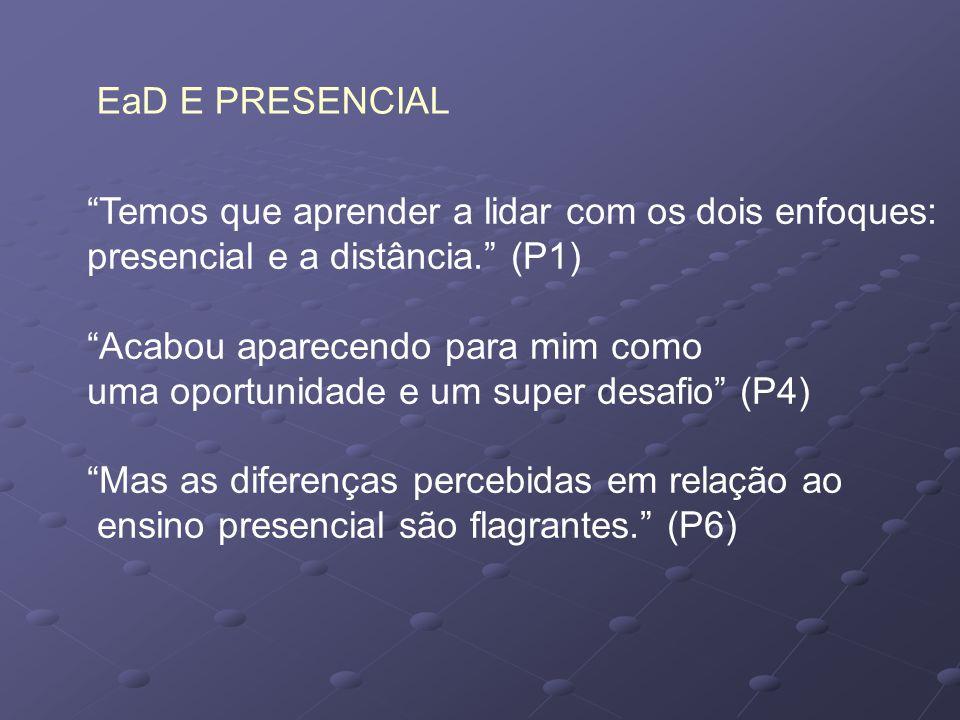EaD E PRESENCIAL Temos que aprender a lidar com os dois enfoques: presencial e a distância. (P1)