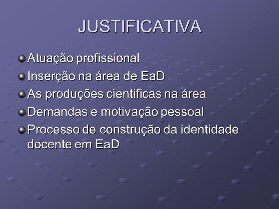 JUSTIFICATIVA Atuação profissional Inserção na área de EaD