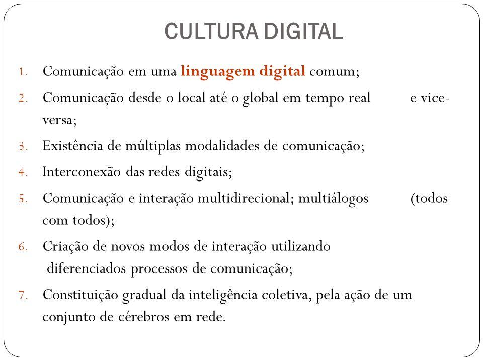 CULTURA DIGITAL Comunicação em uma linguagem digital comum;