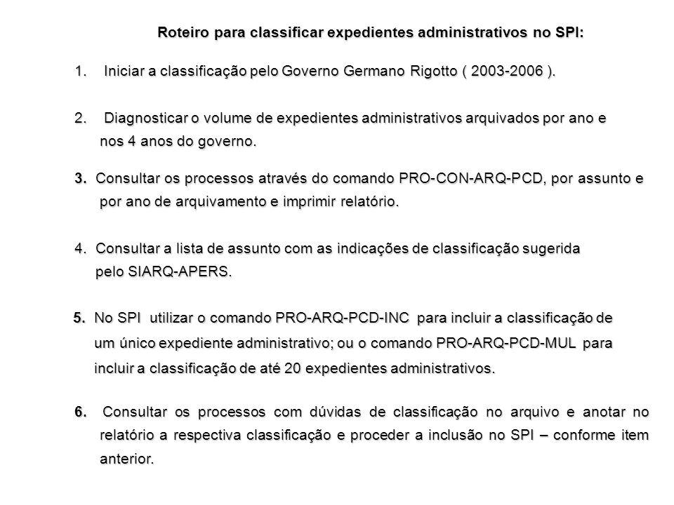 Roteiro para classificar expedientes administrativos no SPI: