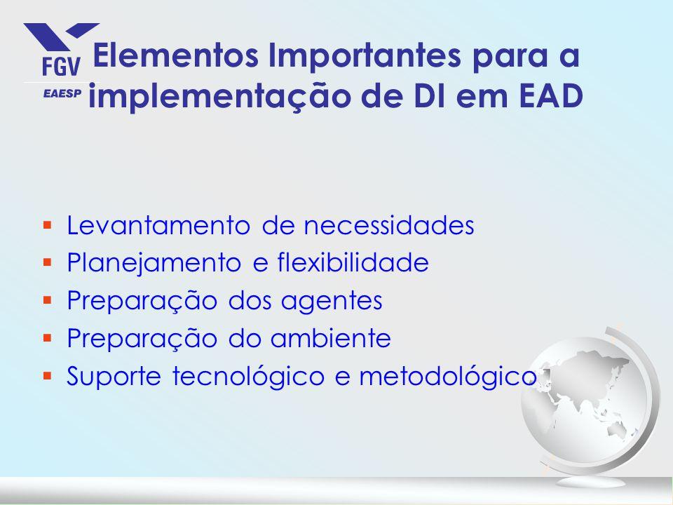 Elementos Importantes para a implementação de DI em EAD