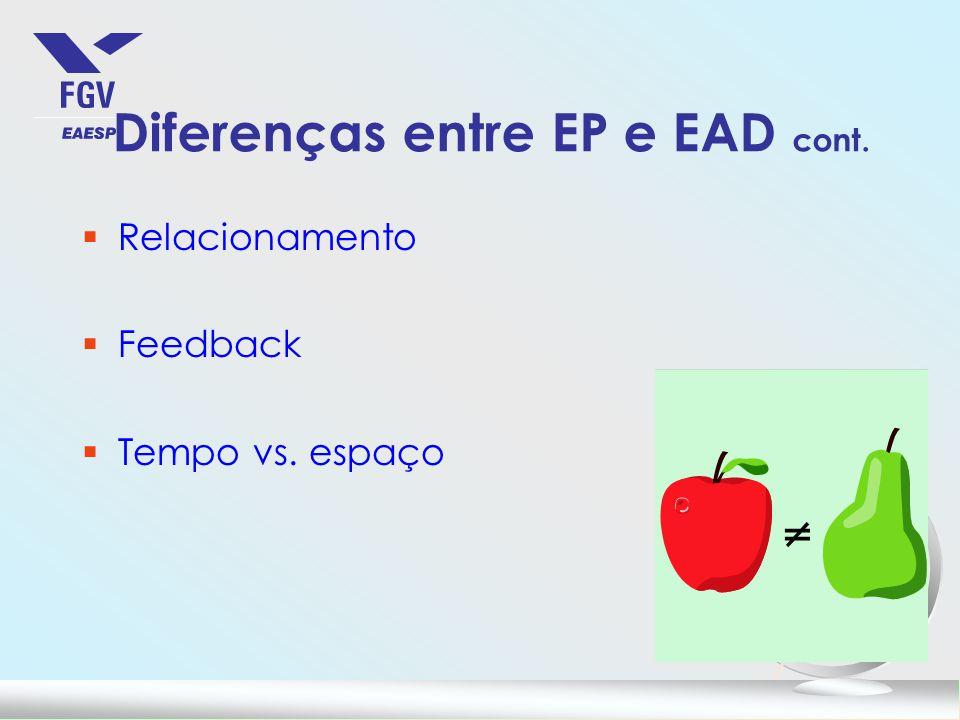Diferenças entre EP e EAD cont.