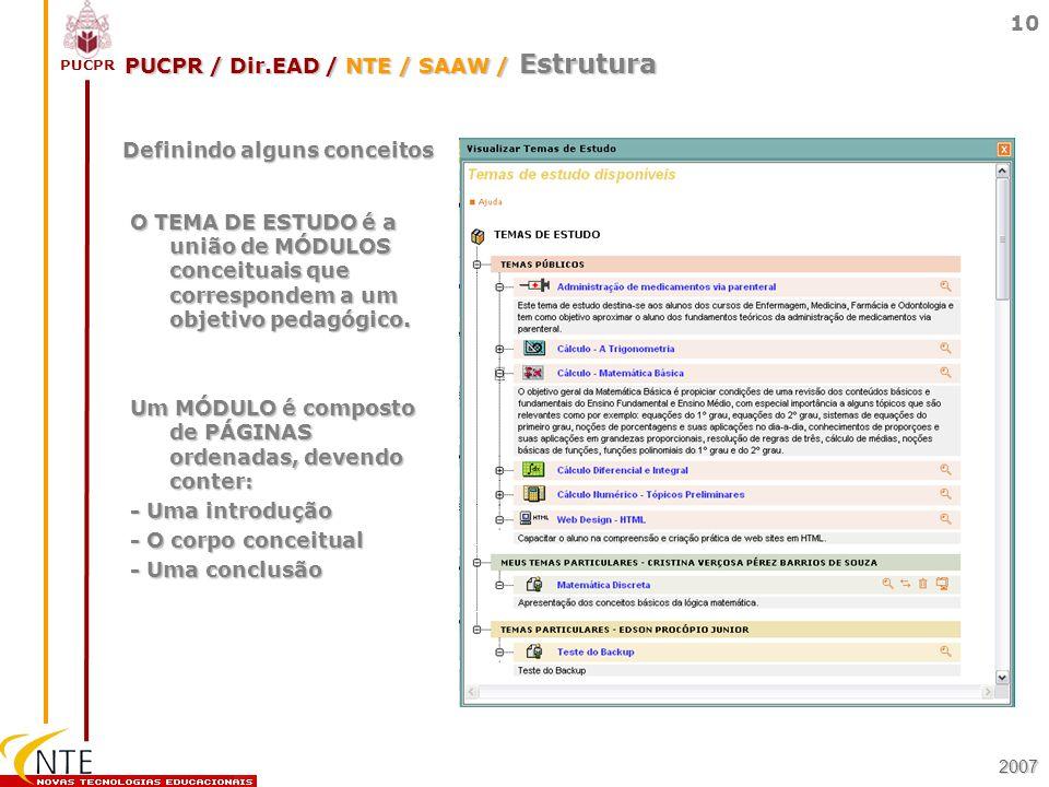 PUCPR / Dir.EAD / NTE / SAAW / Estrutura