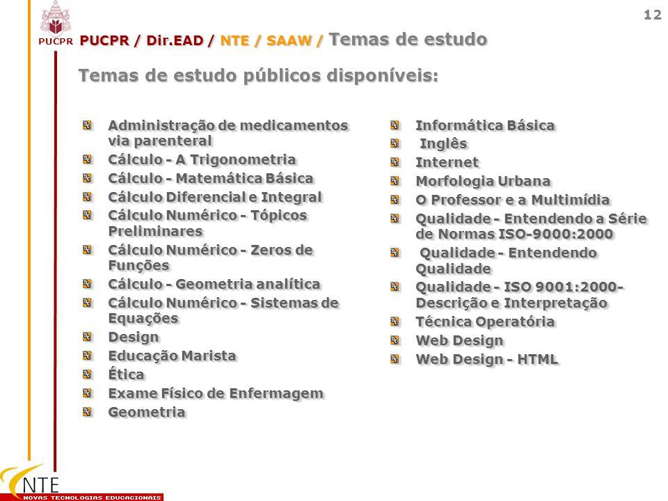 PUCPR / Dir.EAD / NTE / SAAW / Temas de estudo