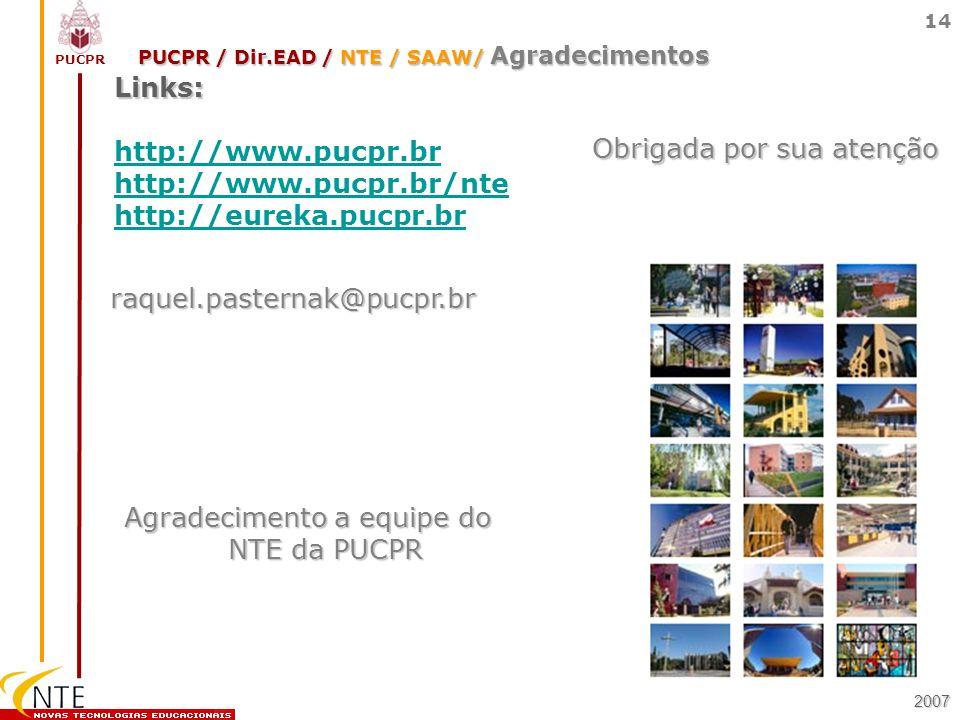 PUCPR / Dir.EAD / NTE / SAAW/ Agradecimentos