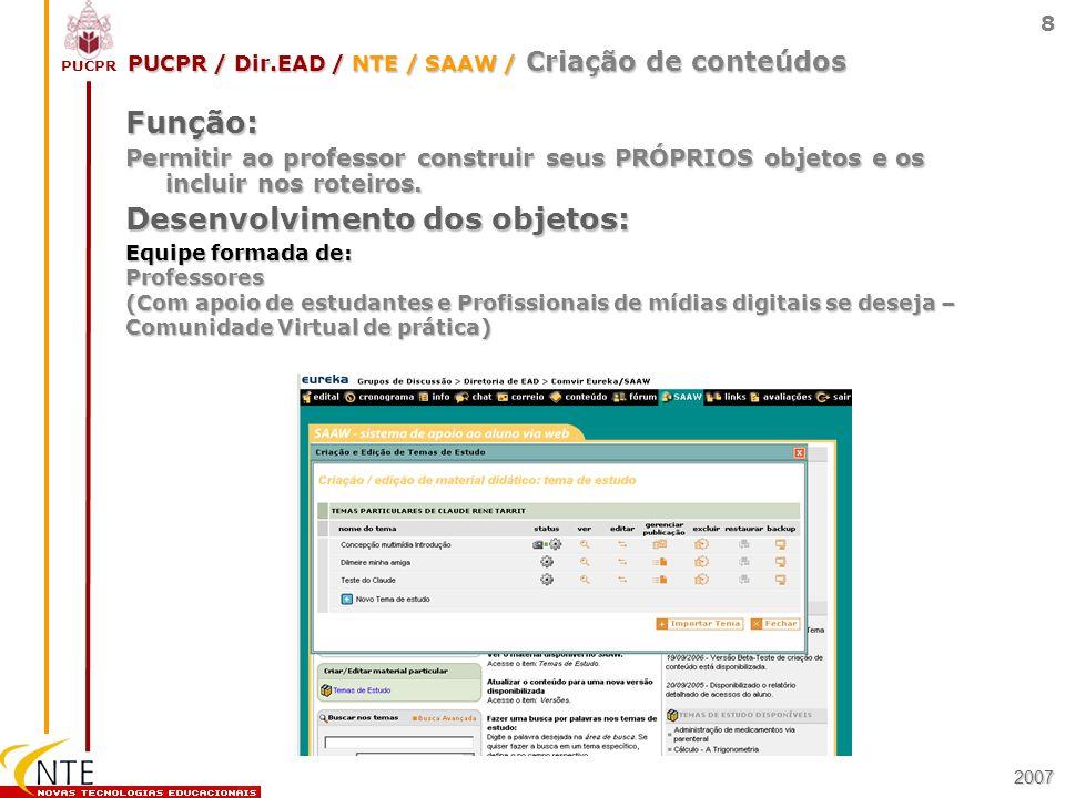 PUCPR / Dir.EAD / NTE / SAAW / Criação de conteúdos