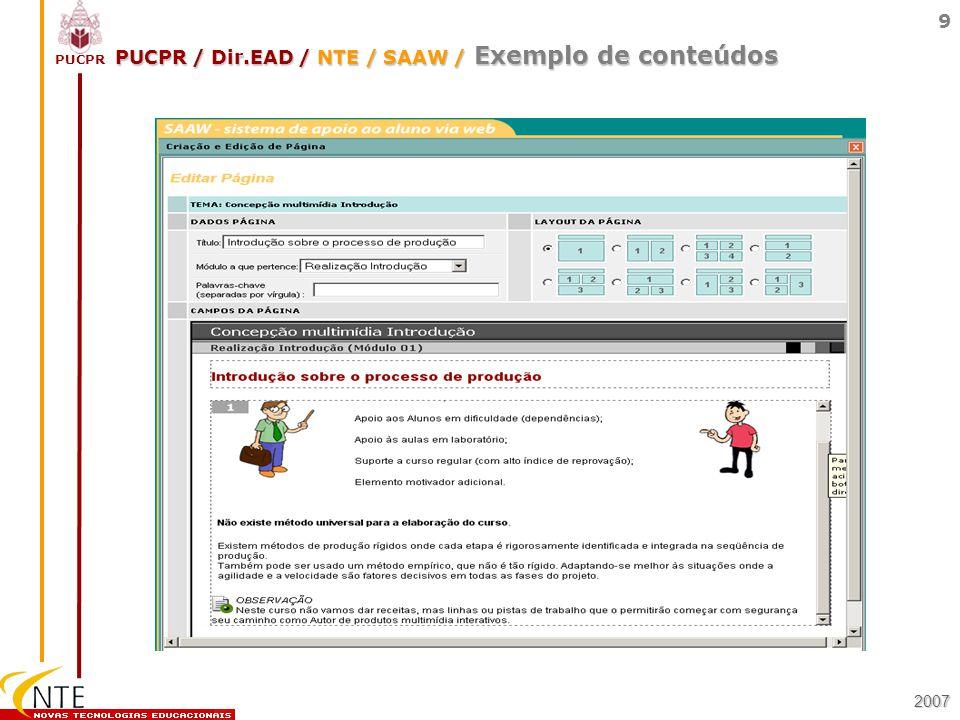 PUCPR / Dir.EAD / NTE / SAAW / Exemplo de conteúdos