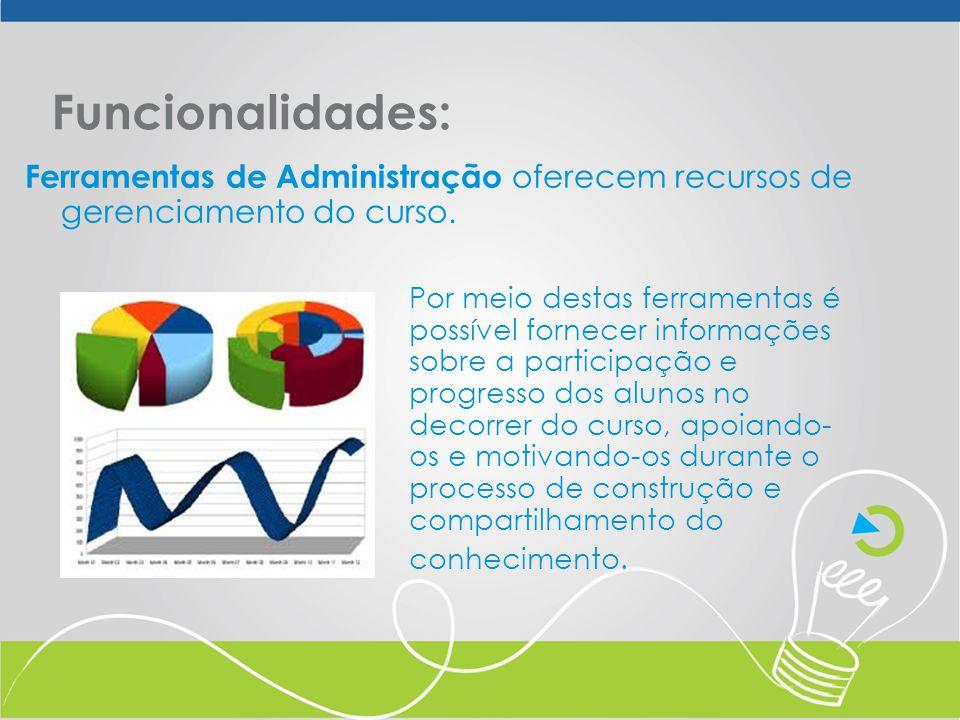 Funcionalidades: Ferramentas de Administração oferecem recursos de gerenciamento do curso.