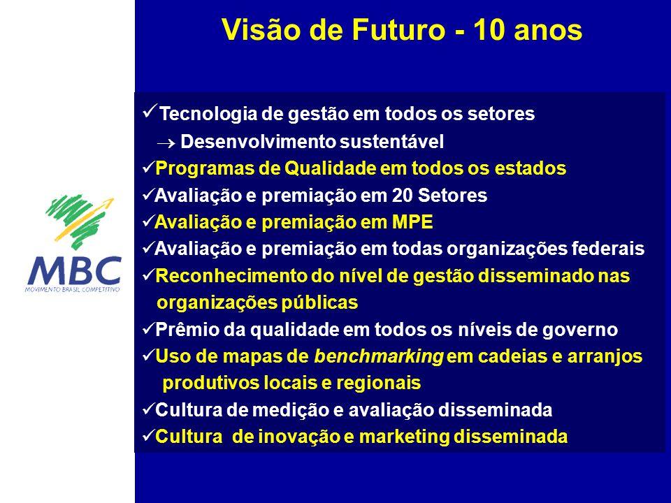 Visão de Futuro - 10 anos Tecnologia de gestão em todos os setores  Desenvolvimento sustentável.