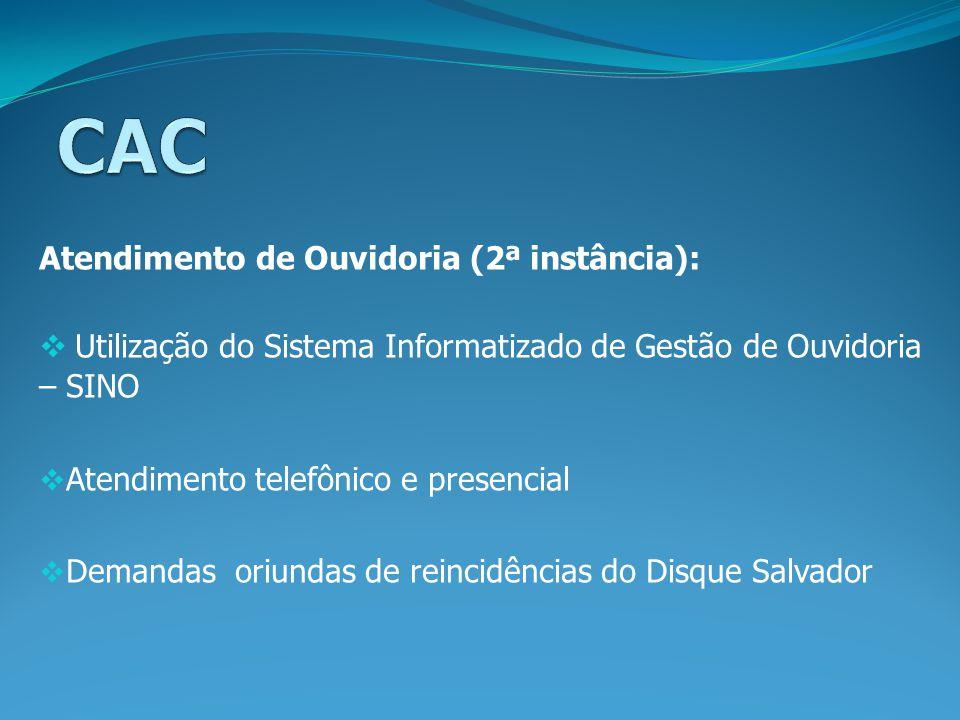 CAC Utilização do Sistema Informatizado de Gestão de Ouvidoria – SINO