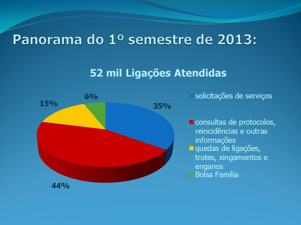 Panorama do 1º semestre de 2013: